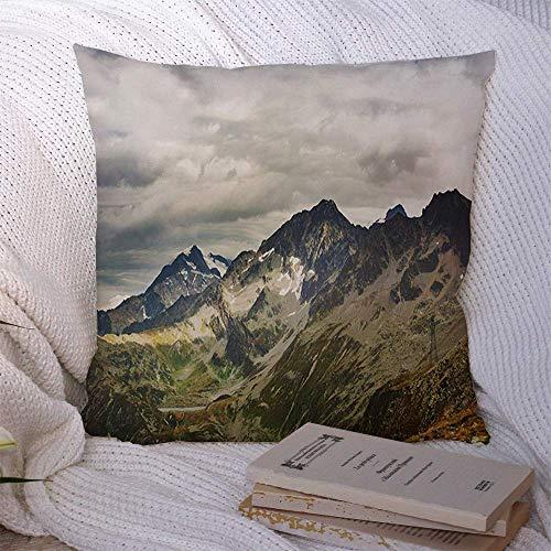 N\A Couvre-oreillers décoratifs pour canapé-lit canapé Alpes Grande Chaude Automne France Montagnes alpines Nature Parcs d'aventure atmosphère Belles Couleurs Housse de Coussin Souple
