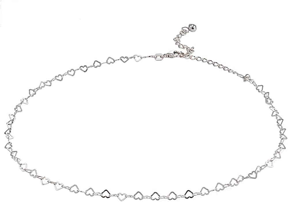 GemStar USA Sterling Silver Open Neck Chain Heart Choker Italian Max 40% OFF New product type