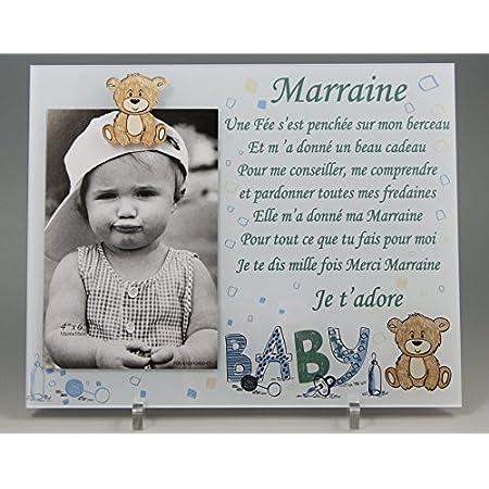 Cadre Photo - modèle Bleu pour Marraine – (Cadeaux originaux pour Parrain Marraine - Baptême, Anniversaire, Noël.)