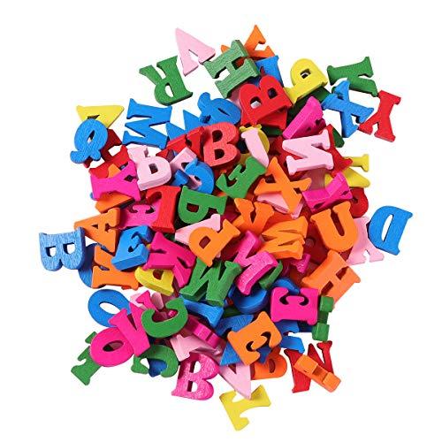 SUPVOX Letras de Madera pequeñas Coloridas rodajas Discos de Madera decoración Juguetes Madera niños 100 Piezas 15 mm