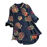 VEMOW Camiseta de Manga Ajustables Larga con Cuello Redondo y Estampado de Floral para Mujer Túnica Tops, Elegantes Moda Vintage Jacquard Botón Suelta Talla Grande Blusas Camisas(E Armada,3XL)
