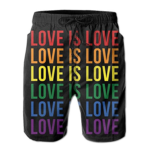 SARA NELL Men's Love is Love Gay & Lesbian Pride Beach Shorts Board Shorts Breathable Swim Trunks Quick Dry White