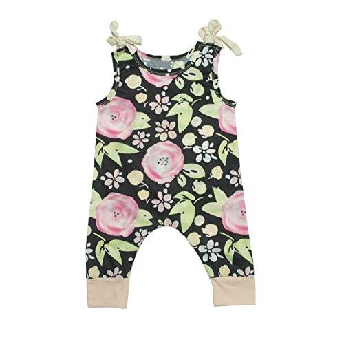 Chennie 0-3T bébé Nouveau-né Enfant Filles Jupette sans Pied Floral Romper sans Manches Tenues (Color : Black, Size : 2-3Y)