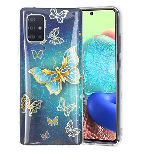Carcasa trasera para Samsung Galaxy A51 5G Paillette Line Triangle Slim Fit Blue Butterfly Soft TPU Bumper Skin Cover Goma Sparkle Shock para mujeres Niñas Shell Cases Glitter Cover Samsung A51 5G