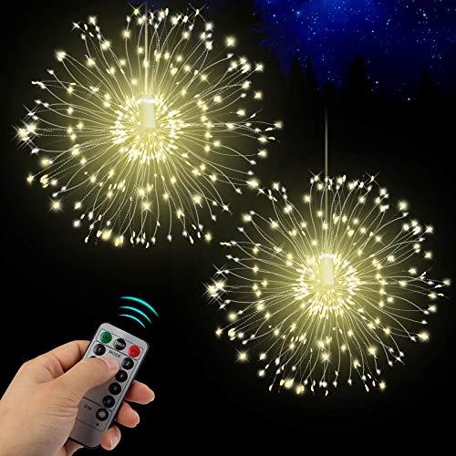 Feuerwerk LED Licht, Vivibel 2 Stück 150 LEDs Lichterkette mit 8 Modi Beleuchtungs wasserdicht Kupferdraht Lichter für Garten Terrasse Hochzeit Party Weihnachten