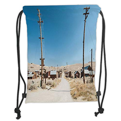 Fevthmii Drawstring Backpacks Bags,Western,Bodie State Historic Park Ghost Town in California United States Arid Country Decorative,Light Blue Beige Soft Satin,5 Liter Capacity,Adjustable S