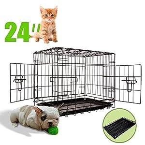 Iglobalbuy certifiée Cage pliante pour animal domestique en fil métal Cage avec plateau de sol amovible