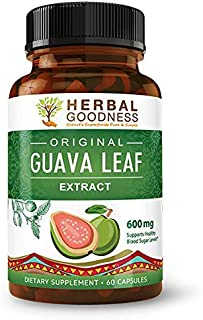 Guava Leaf Extract Capsules - Carb Blocker | Fat Burner | Blood Sugar Level Support | Hair (Re) Growth - Skin & Nails - Energy Boost | Digestion & Immunity - 60/600mg Veggie Capsules - Made in USA