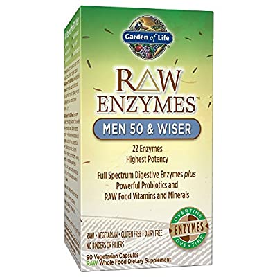Garden of Life Vegetarian Digestive Supplement - Raw Enzymes, Wiser for Digestion, Bloating, Gas, and IBS, 90 Capsules