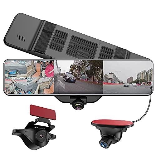 AKEEYO 2021最新版 全周囲 360度録画+3カメラ同時録画 ドライブレコーダー ミラー型 11.88インチ 前後カメラ サイドカメラ リヤIP67防水 HDR搭載 Gセンサー 駐車監視 32GB MicroSDカード付き 日本語説明書 24ヶ月安心保証 AKY-V360ST