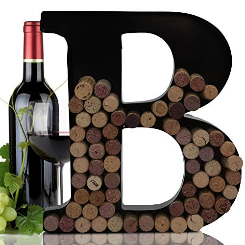 Metal Letter Wine Cork Keepsake Saver & Holder Monogram w/Free Wall Mount Kit (12 x 10 x 1.75', Letter B)