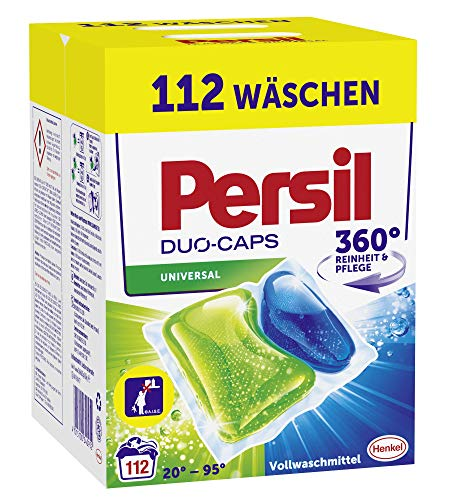 Persil Universal Duo-Caps Waschmittel (112 Waschladungen), Vollwaschmittel mit Aktiv-Flecklöser und Persil Leuchtkraft-Formel für strahlende Reinheit