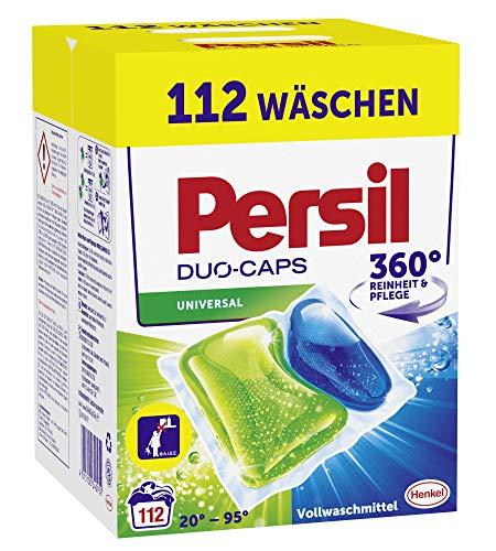 Persil Duo-Caps Universal, Vollwaschmittel, 112 (2 x 56) Waschladungen für Fleckenentfernung, Leuchtkraft und hygienisch reine Wäsche