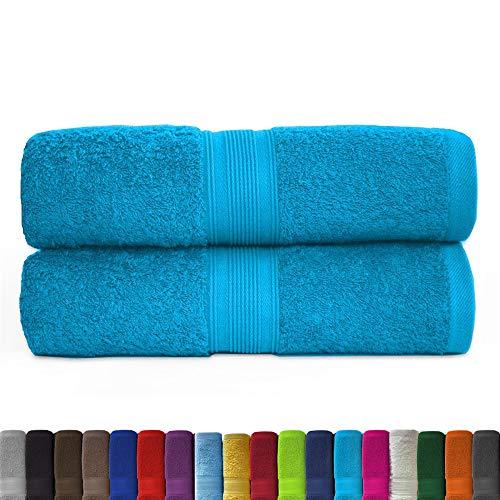 leevitex® 2er Pack Frottier XXL Saunatücher Set 80x200cm - Saunatuch, Sauna-Handtuch, Qualität 500 g/m² - 100% Baumwolle in vielen modernen Farben (Türkis/Ocean)