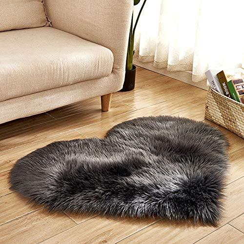 Scrolor Weichbodenmatte Shaggy Teppiche Weiche Lange Flauschige Wärmeform für Wohnzimmer Hochzeit Schlafzimmer Tür Matte Sofa Bodendekoration(Dunkelgrau,70 x 90 cm)