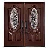 Fiberglass Exterior Door Front Entry Door Mahogany Finished Montrouge Style Right Hand in-Swing Prehung Double Door (Right-Hand, Double Doors 30'x30'x80')