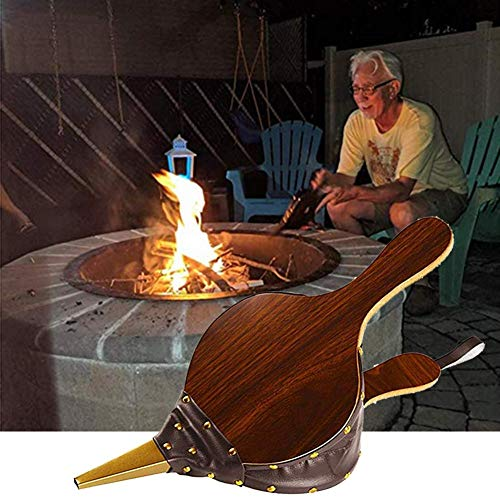 Great Deal! Macddy Fireplace Bellows Large Wood Air Blower Manual Fireplace Tool for Camping Barbequ...