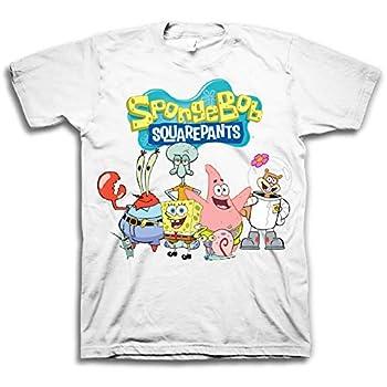 Mens White Spongebob Squarepants Shirt - Spongebob Group Shot Tee - Classic Swag T-Shirt  White Sponge X-Large
