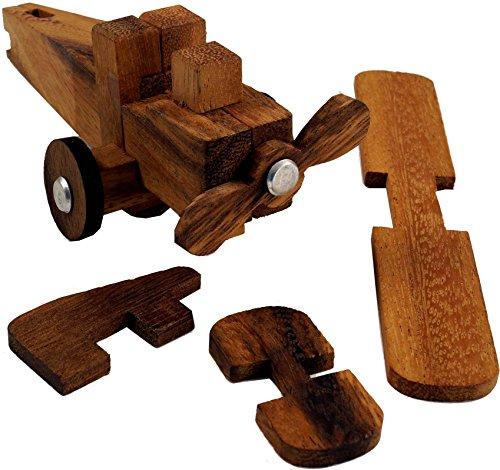 Guru-Shop Houten Spel, Spel van Vaardigheid, Puzzelspel, 3 D Houten Puzzel - Puzzel Vliegtuig, Bruin, 9x9x9 cm, Bordspellen Behendigheidsspellen