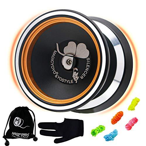 MAGICYOYO Professional Unresponsive Yoyo M001-B, Alloy Aluminum Yo-yo with Golden Metal Rings andStainless Ball Bearing, Great Intermediate Yoyo for Kids + Extra 5 Strings + Glove + Bag ( Black)