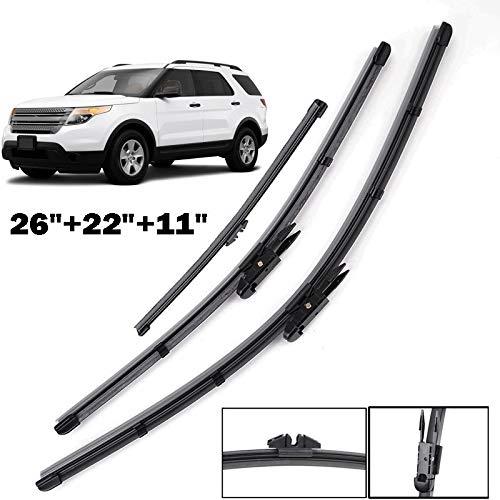 Yubingqin Blades de limpiaparabrisas de Parabrisas para Ford Explorer 2011 2012 2013 2015 2015 2015 2015 2017 WIP Wiper de la Ventana Trasera 22'22' 11'