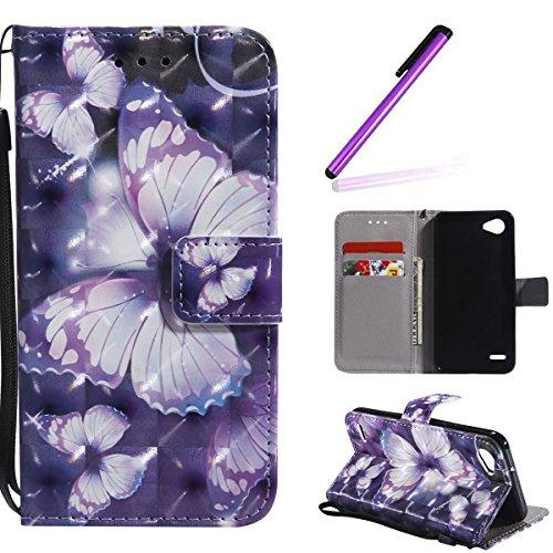 HMTECH LG Q6 Funda Elegante retro Mariposa morada patrón PU Leather Wallet con Business Card Holder Stand Function Case Para LG Q6/LG Q6 Mini/LG Q6 Plus,Purple Butterfly KT