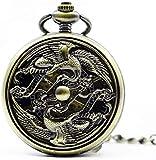 ZHANGYY Relojes mecánicos Steampunk de Esqueleto Antiguo mecánico para Hombre, Reloj Colgante de Cuerda Manual para Hombre, Reloj de Bolsillo, Regalos para la Familia