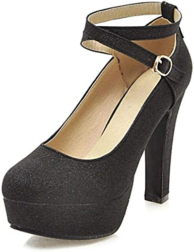 MDD@BB Europe et Amérique MesLes Les dames Pu Printemps 11.5Cm 11.5Cm 11.5Cm Sexy Bretelles Bouche peu profonde Bouche sauvage Mode Chaussures à talons hauts Noir   42% 900