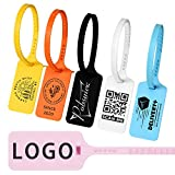 Pobsuier 100Pcs Custom Logo Tag Zip Ties Off Plastic Security White Clothes Shoe Brand Hanging Label Tags 300mm/11.8'