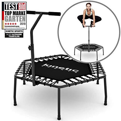 Kinetic Sports Fitness Trampolin Indoor Ø 110 cm, Hexagon, höhenverstellbarer...