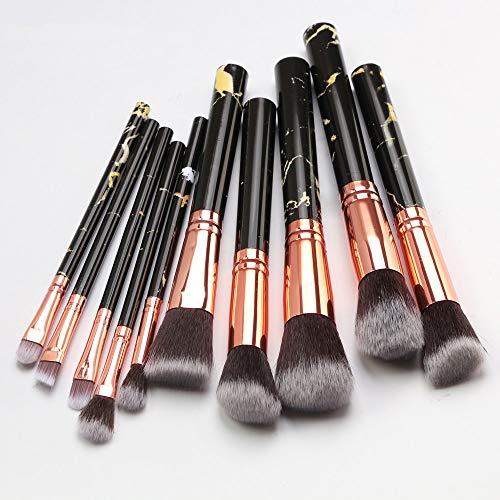 LILONGXI Pinceau De Maquillage,10 Pc Soft Noir en Professionnel Outils Set Fard À Paupières Eyeliner Lèvres Poudre Foundation
