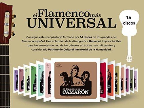 14 discos de música flamenco. El flamenco es ... UNIVERSAL. 14 CDs con los mejores artistas del cante flamenco, Camaron, Enrique Morente, José Mercé, Raimundo Amador, Carmen Linares, Pitingo, Bambino, El Lebrijano, Tomatito...