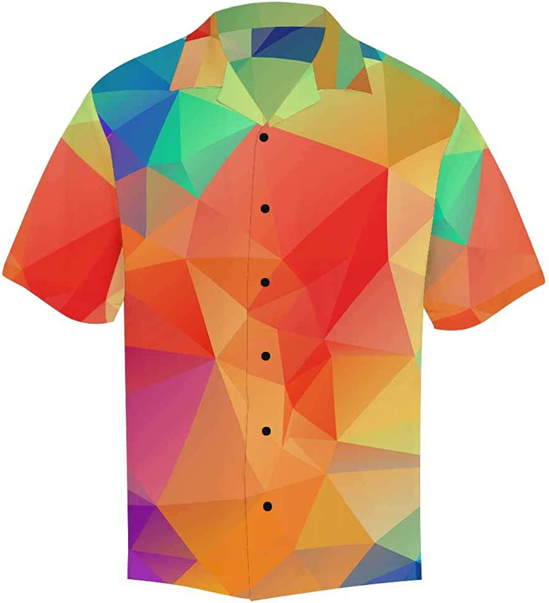 InterestPrint Men's Casual Button Down Short Sleeve Retro Geometric Hawaiian Shirt (S-5XL)