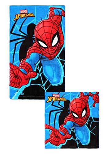 Theonoi 2 Teile - Kinder Handtuch Set – wählbar: Paw Patrol Frozen Ladybug Thomas Spiderman – 100% Baumwolle - Handtuch/Gesichtstuch und Waschlappen (Spiderman)