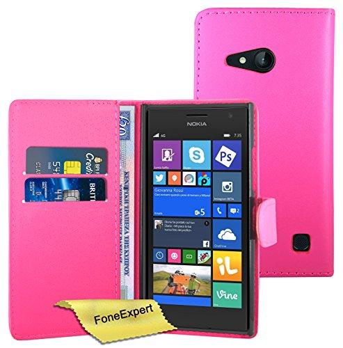 Nokia Lumia 730 735 Hülle, FoneExpert® Hülle Wallet Hülle Cover Hüllen Etui Ledertasche Premium Lederhülle Schutzhülle für Nokia Lumia 730 735 + Bildschirmschutzfolie (Wallet Rosa)