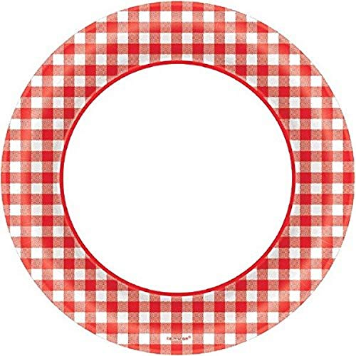 Amscan Disposable Classic Picnic Red Gingham Border Round Plates Party Tableware, 40 Pieces, Made from Paper, Picnic and Barnyard Party Theme, 10 by