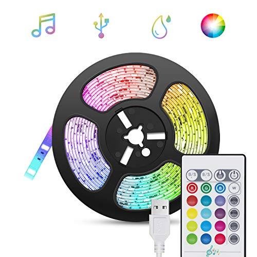 5M Striscia LED Musicale, LED Striscia Retroilluminazione TV USB RGB Sync con Musica, TASMOR Nastri LED 16 Colori e 4 Modalità Dinamiche Striscia Luminosa a LED per HDTV, Cucina, Festa, Bar