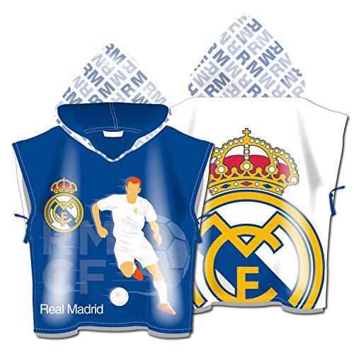 ARDITEX RM13740 Poncho de Microfibra con Capucha de 55X55cm de Clubs-Real Madrid CF