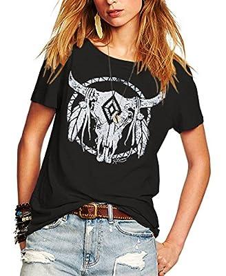 Romastory Womens Street Pattern T-Shirt Short Sleeve Loose Summer Top Tee (M, Black)