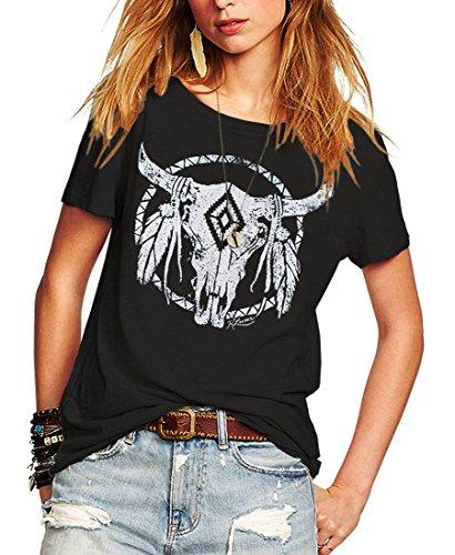 Romastory Womens Street Pattern Novelty T-Shirt Short Sleeve Loose Summer Tops Tee Shirts (M, Black)