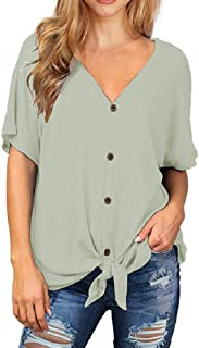 Womens Loose Henley Blouse Short Sleeve V Neck Button Down T Shirts Tie Front Knot Casual Tops