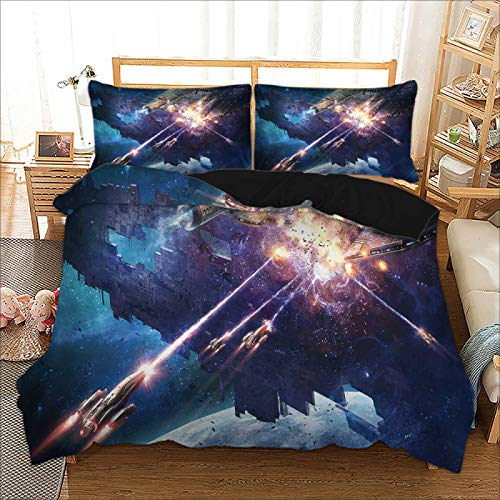 MMHJS 3-Piece Microfiber Duvet Cover Suitable For Single Bed, Double Bed European Style Personalized Style