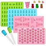 Ninonly Silicone Candy Stampi Ice Cube Vassoi Set di 4 Stampi per Praline e Caramelle con 2 contagocce per Fai da Te Caramella, Gelatina, Cookie, Cioccolato, Ghiaccio aromatizzato