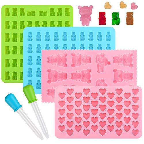 Ninonly Süßigkeit Silikon Formen Schokoladenform Silikon Formen und Eiswürfelbereiter 4 Teiliges Set Pralinenformen Herz Stern Bär Formen für Kinder