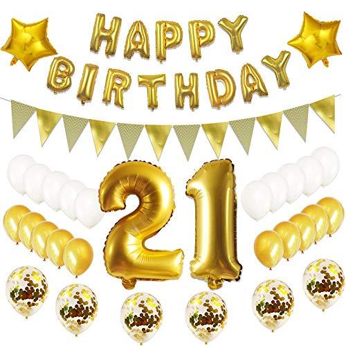 21 ballonnen voor verjaardag, goudkleurig, 21 verjaardagsdecoratie, goudkleurig, set voor meisjes, mannen, jongens, 21 verjaardagsdecoratie, vrolijke verjaardagsdecoratie, 21 ballonnen