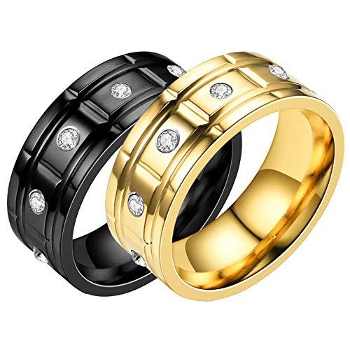 HFSKJWI Anillo de Acero Inoxidable,Anillo de Acero de Titanio con Diamantes,Anillo de Pareja, Accesorios Exagerados,Negro y Dorado,2 Piezas,No. 7