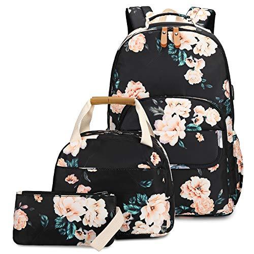 CAMTOP School Backpack for Girls Teens High School Laptop Bookbag, School Bags with Lunch Bag Set (Flower Black)