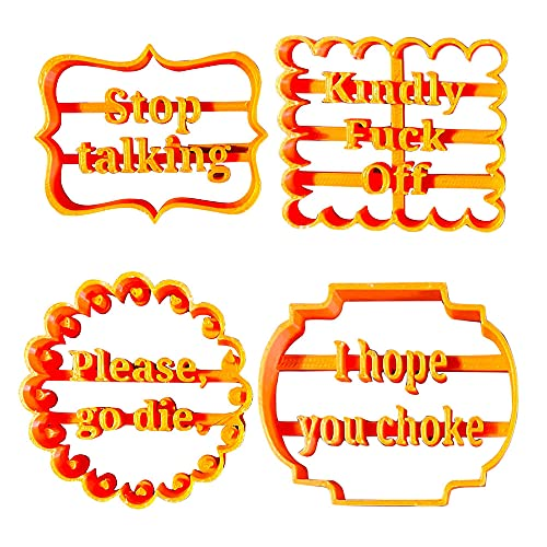 Cookie Molds with Good Wishes, Cookie Molds Shapes, Cookie Cutters Set Plastic, Cookie Cutters Shapes Baking Set for Kitchen (4PC)