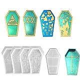 Iriisy - 5 Moldes de Resina Epoxi de Cristal, 4 Cubiertas, 1 parte Inferior, decoraciones del hogar de bricolaje de Halloween, Juego de moldes cajas de almacenamiento de baratijas de silicona