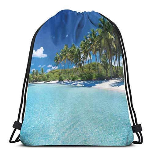 LLiopn - Zaini a sacco con coulisse, per rilassare la spiaggia, resort spa, palme e mare, regolabile, capacità 5 litri, regolabile.